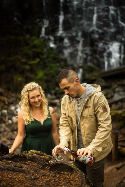 PNW wedding engagement oregon beer wine waterfall adventure-16