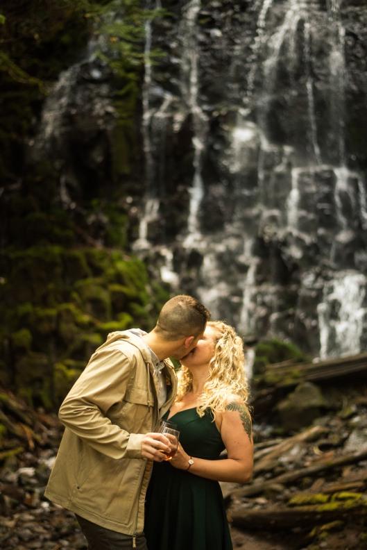 PNW wedding engagement oregon beer wine waterfall adventure-18